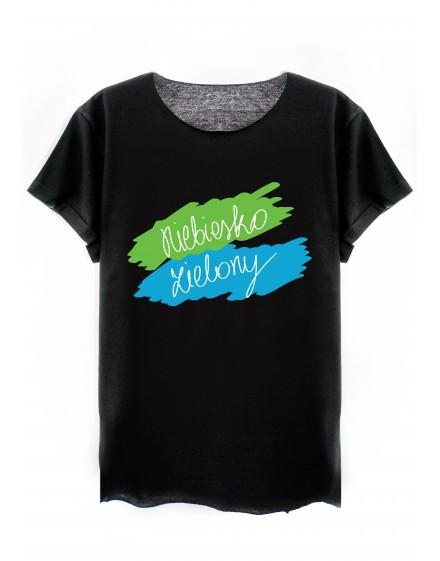 Niebiesko - zielony T-shirt // CZARNY